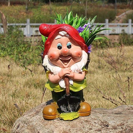 HOMERRY - Figura decorativa de gnomo de jardín y estatuas, maceta de flores, macetas de jardín, enanos y plantas: Amazon.es: Hogar
