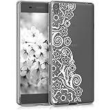 kwmobile Funda para Sony Xperia XA - Carcasa de [TPU] para móvil y diseño de Encaje de Flores en [Blanco/Transparente]