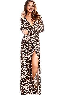 8b36e84478a2 Ghazzi Women Dresses Long Sleeve Sexy V-Neck Leopard Split Hem Maxi ...