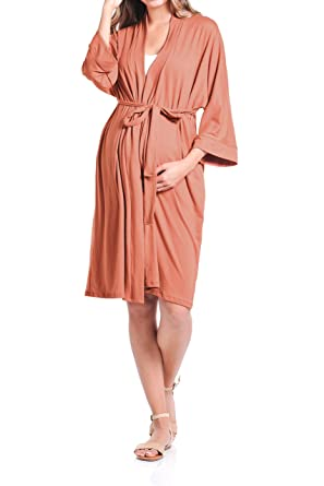 2549d851f565a Beachcoco Women's Maternity Robe delivery/Nursing Made in USA  (Small/Medium, Burnt