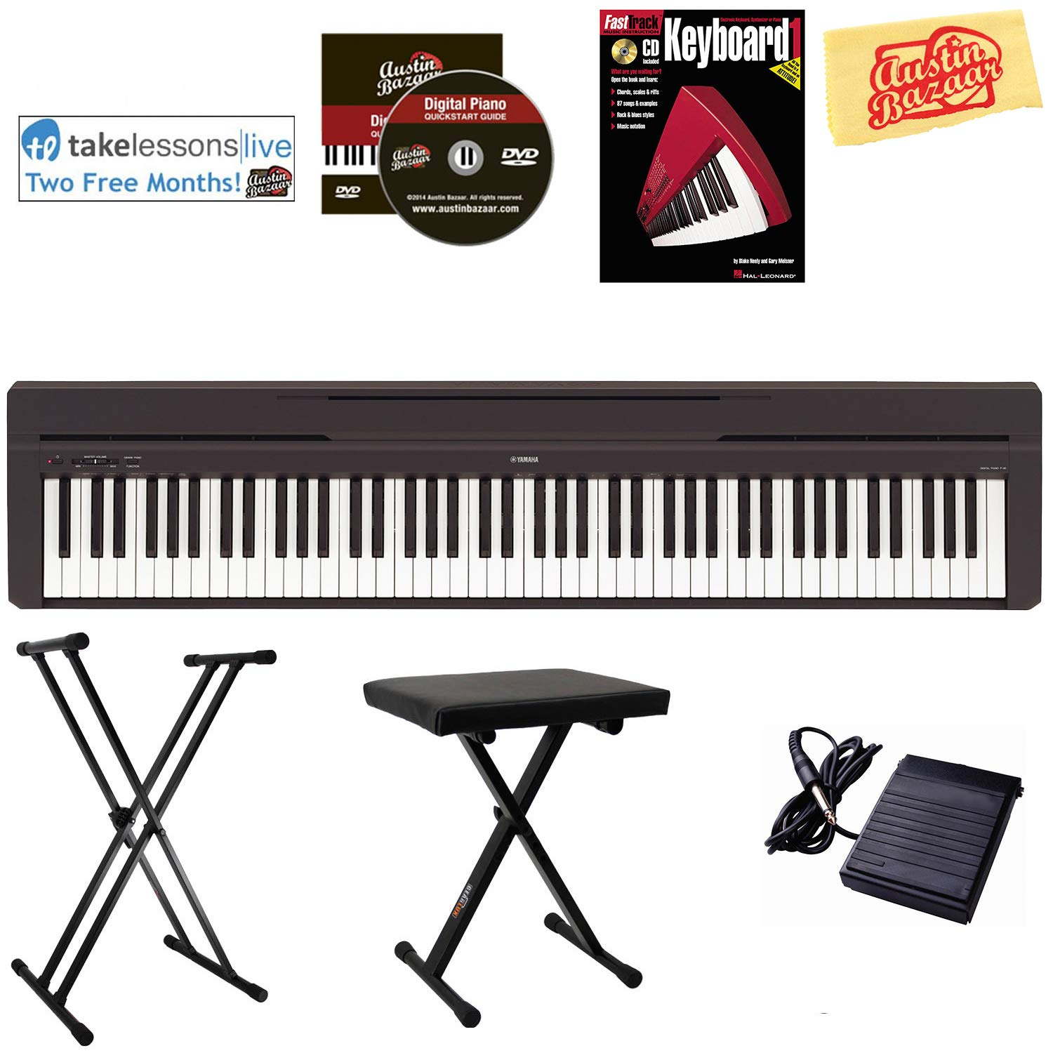 Yamaha P-45 Digital Piano - Black Bundle with Adjustable Stand, Bench, Instructional Book, Austin Bazaar Instructional DVD, Online Lessons, and Polishing Cloth by YAMAHA