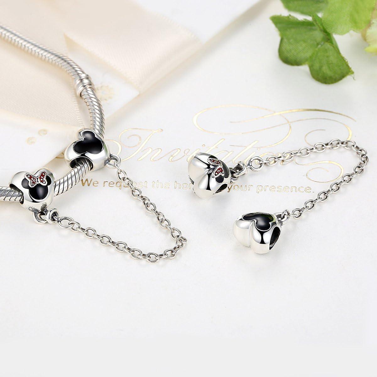 Cartisha Cha/îne de confort Souris en argent sterling Compatible avec bracelets /à breloques europ/éens comme