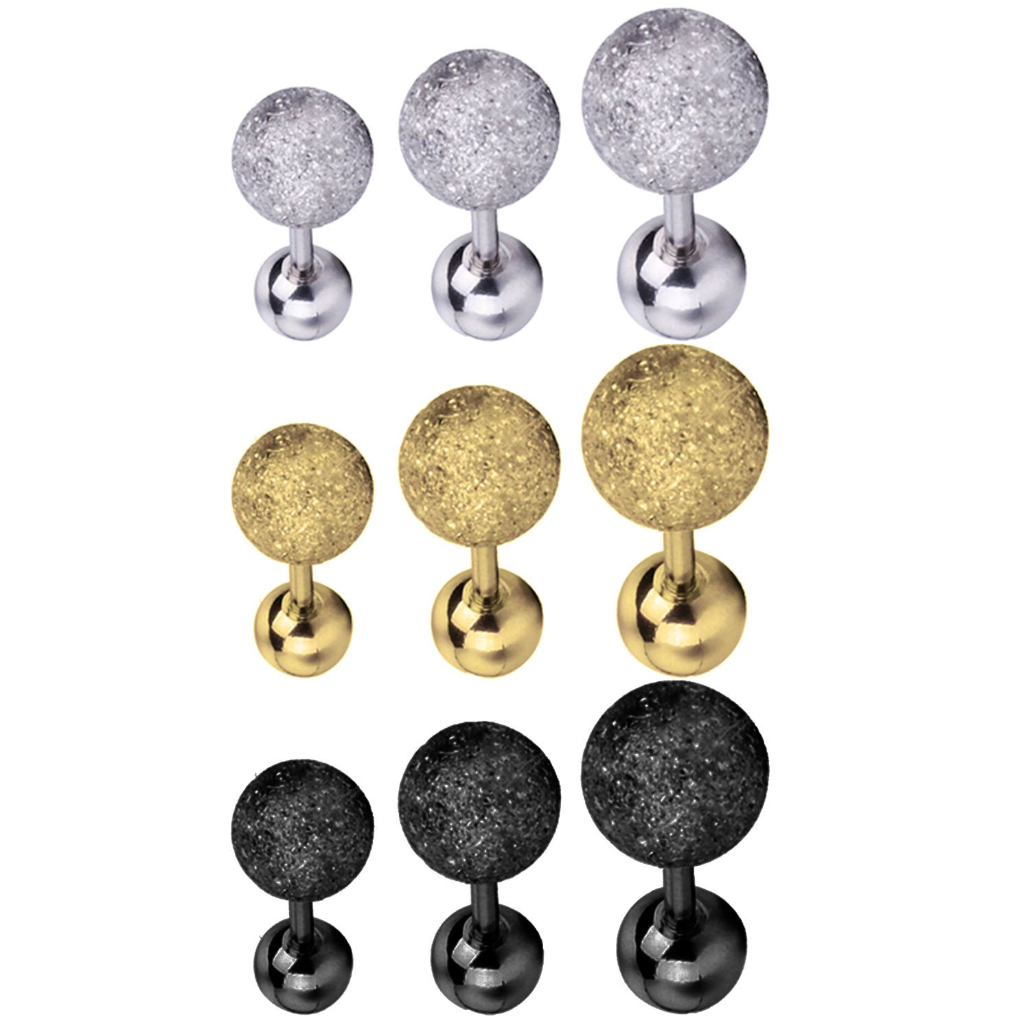 BodyJ4You 9PCS Tragus Ball Piercing Stud Earring Set 16G Surgical Steel Helix Ear Barbell Pack (1.2mm)