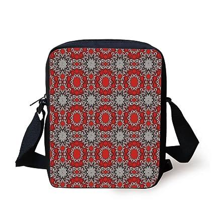 6658886bfe0d Amazon.com: IPrint Red Mandala,Doodle Flowers Swirls Tribal Ethnic ...