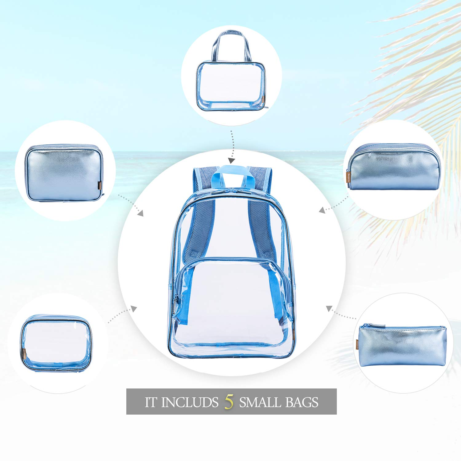 e20dbdb60de2 NiceEbag 6 in 1 Clear Backpack with Cosmetic Bag    Case