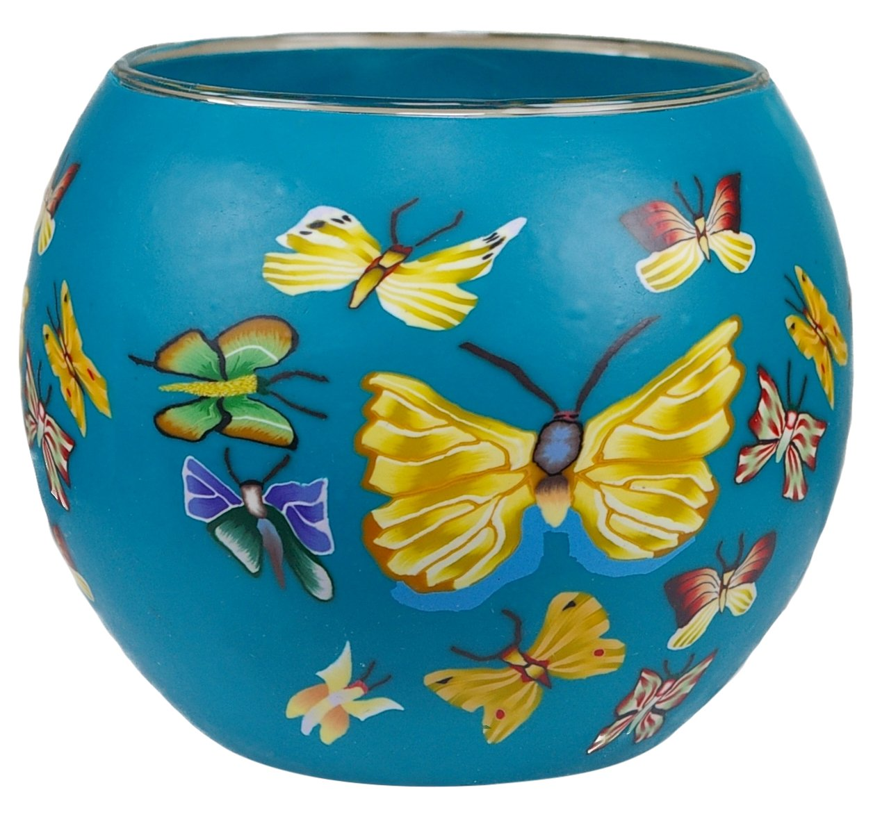 Him CC27 Papillon Photophore Verre Multicolore