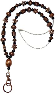 Hidden Hollow Beads Bronze Beauty Women's Fashion Necklace Jewelry Lanyard, 34 Inches for ID Badge Holder, Keys (Bronze & Black Beads - Magnetic Breakaway)