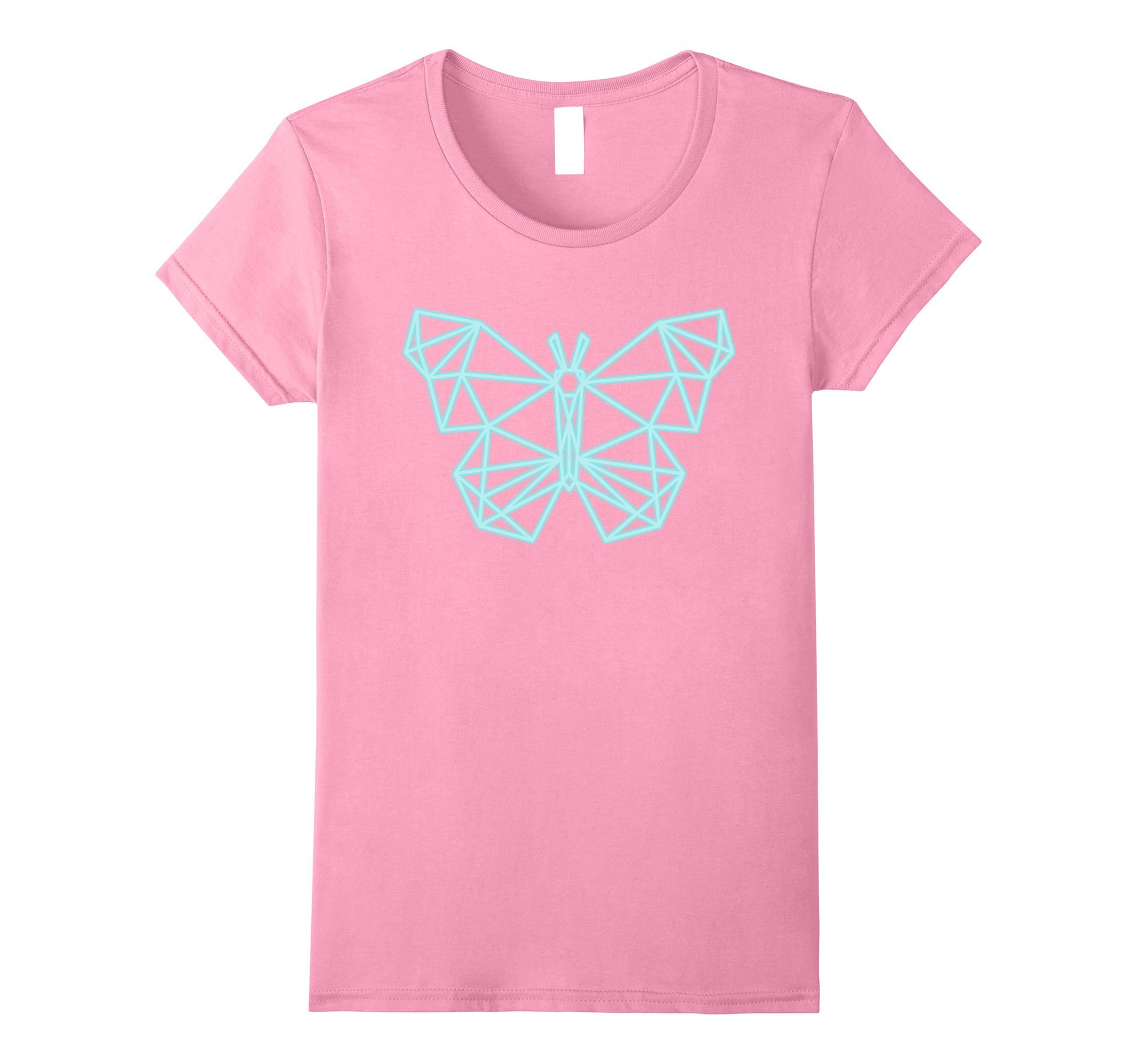 Womens 80s Retro Neon Sign Butterfly Geometric T-Shirt. 80's Gift Small Pink