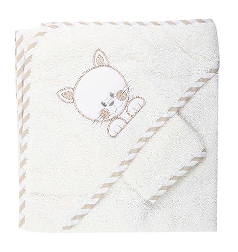 Sortie de bain souris brodé avec gant - bébé - blanc (beige)