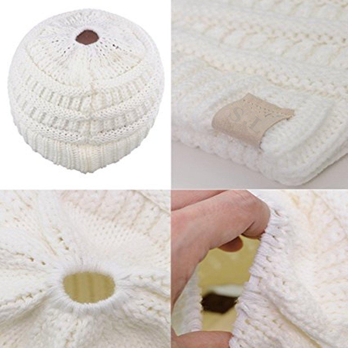 SEALEN Chapeau Tricot Dhiver Automne Chaude Chapeaux avec Trou de Queue de Cheval en Vogue Winter Hat White