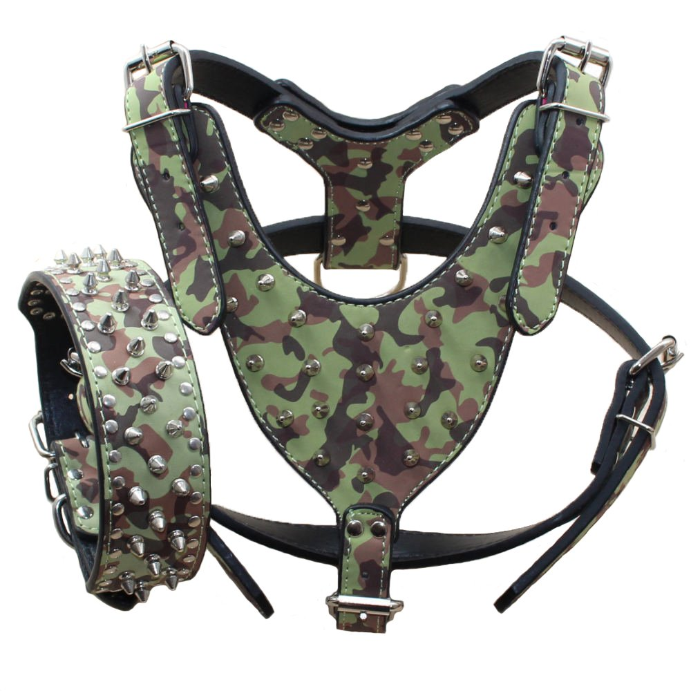 Benala Leather Spikes Dog Harness and Collar Heavy Duty Set for Pitbull,German Shepherd,Golden Retriever (Camouflage,L)