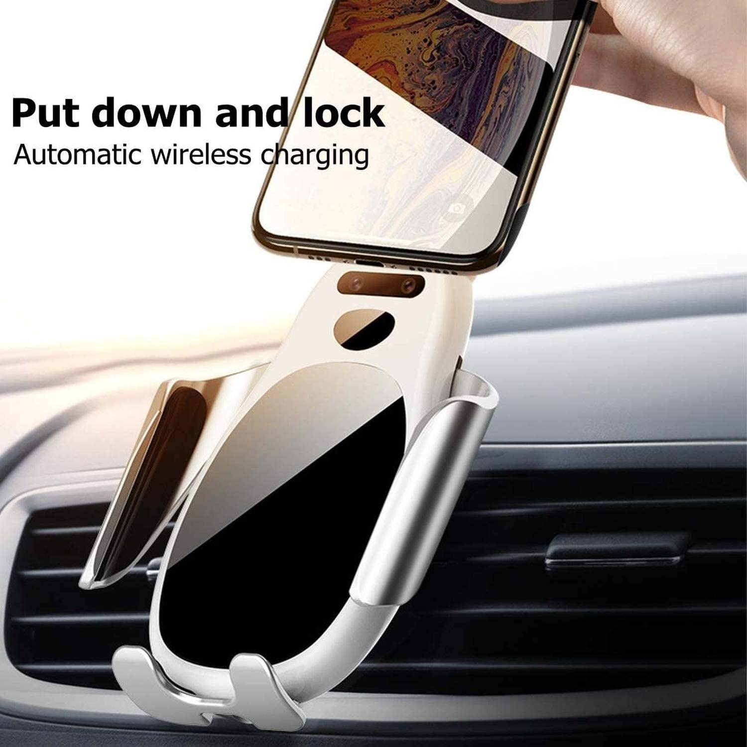 Smart Infrared Sensor Car Phone Mount,Automatic Wireless Car Charger,QI 10W Fast Charging Phone Holder Compatible for Samsung Xiaomi Huawei iPhone and More