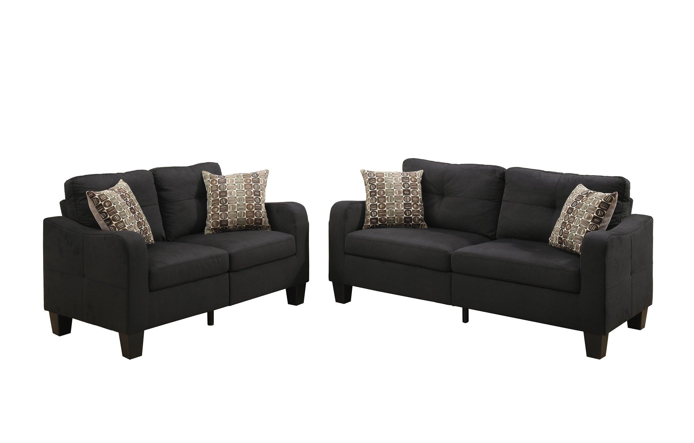 Poundex Bobkona Spencer Linen-Like Polyfabric 2Piece Sofa & Loveseat Set in Black by Poundex