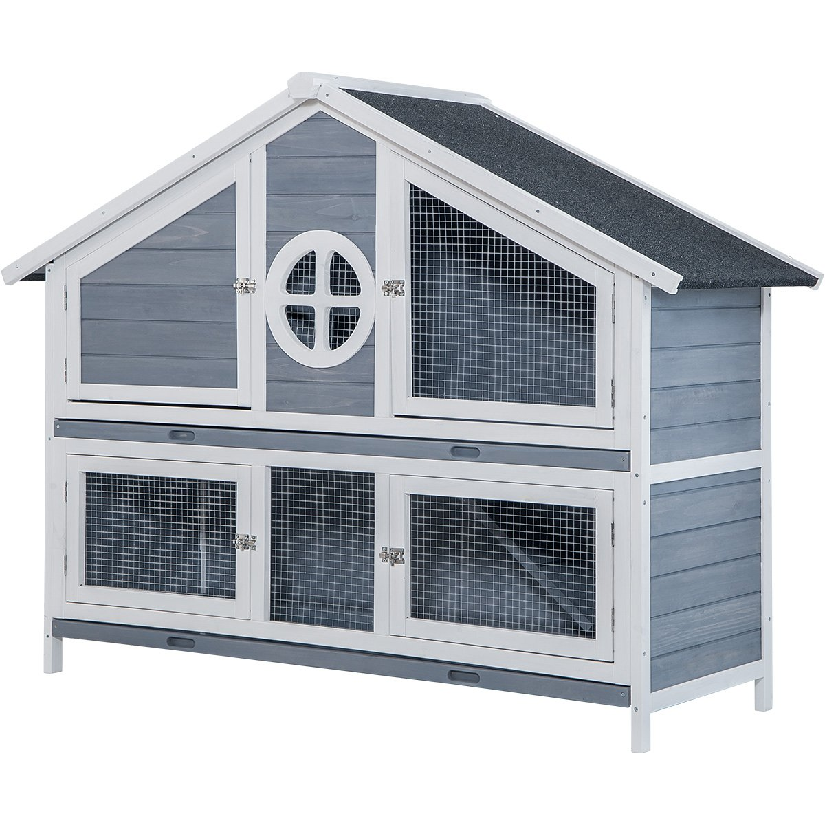 LZ LEISURE ZONE Rabbit Hutch Pet Bunny Cage Wood Small Animals House for Outdoor/Indoor Use (Grey+White)
