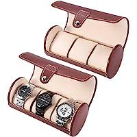 Caja de reloj para hombres, 3 rejillas Cilindro Rollo Titular Reloj de pulsera Joyería Regalo Exhibidor de almacenamiento