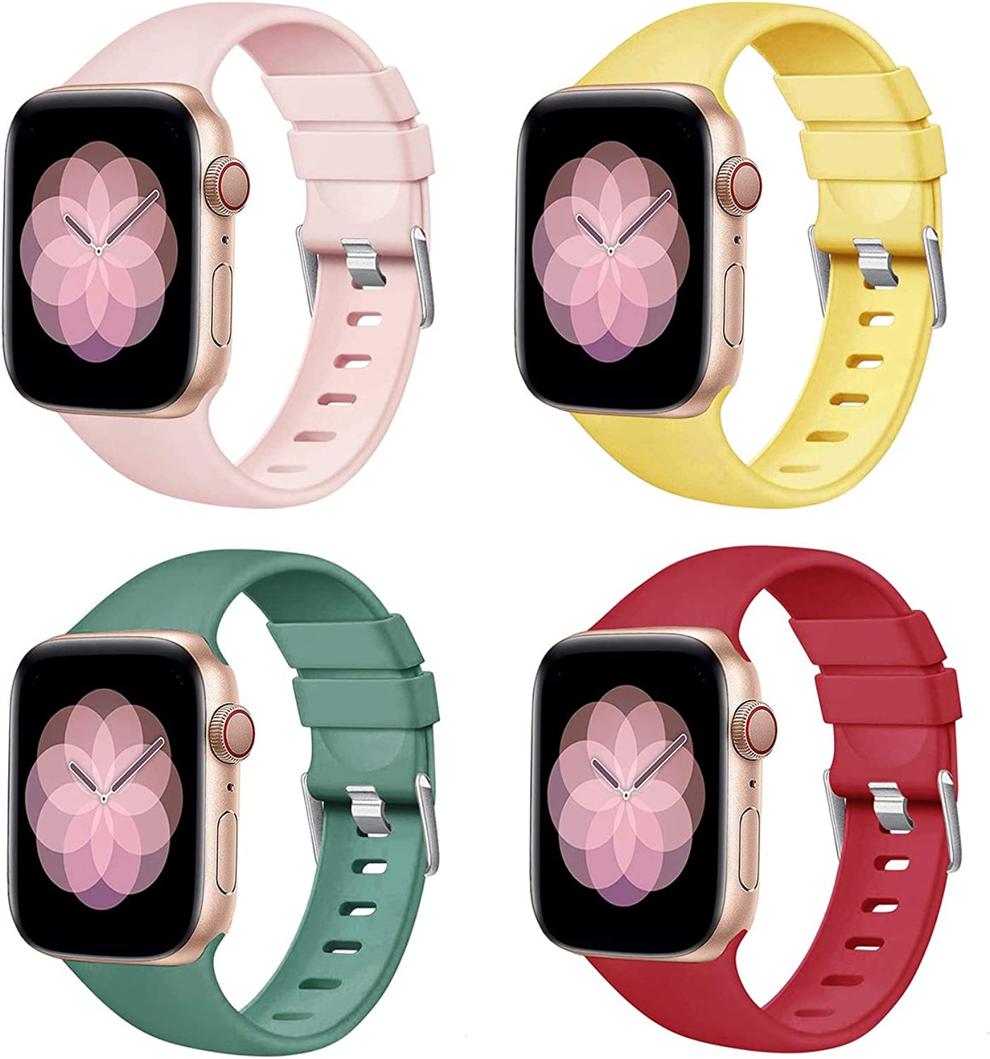 PROSRAT 4-Pack Bands Compatible with Apple Watch Band 38mm/40mm,Soft Silicone Strap Wristband for iWatch Series SE/6/5/4/3/2/1 men women