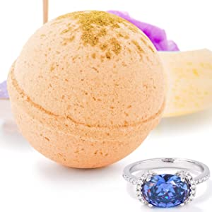 Bauble Bomb's Spiced Apple Jewelry Surprise Deluxe X Large 9 oz Bath Bomb Fizzies Made in USA, Cruelty Free! Ring Size 09