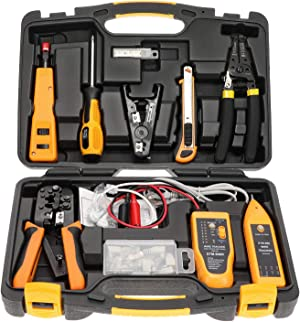 InstallerParts Network Repair Tool Kit 15 In 1 – Electronic Tool Set   Crimping Tool, LAN/Ethernet/Cat5/Cat6 Cable Tester, Gauge Wire Stripper Cutting Twisting Tool, Punch Down, Screwdriver, Knife