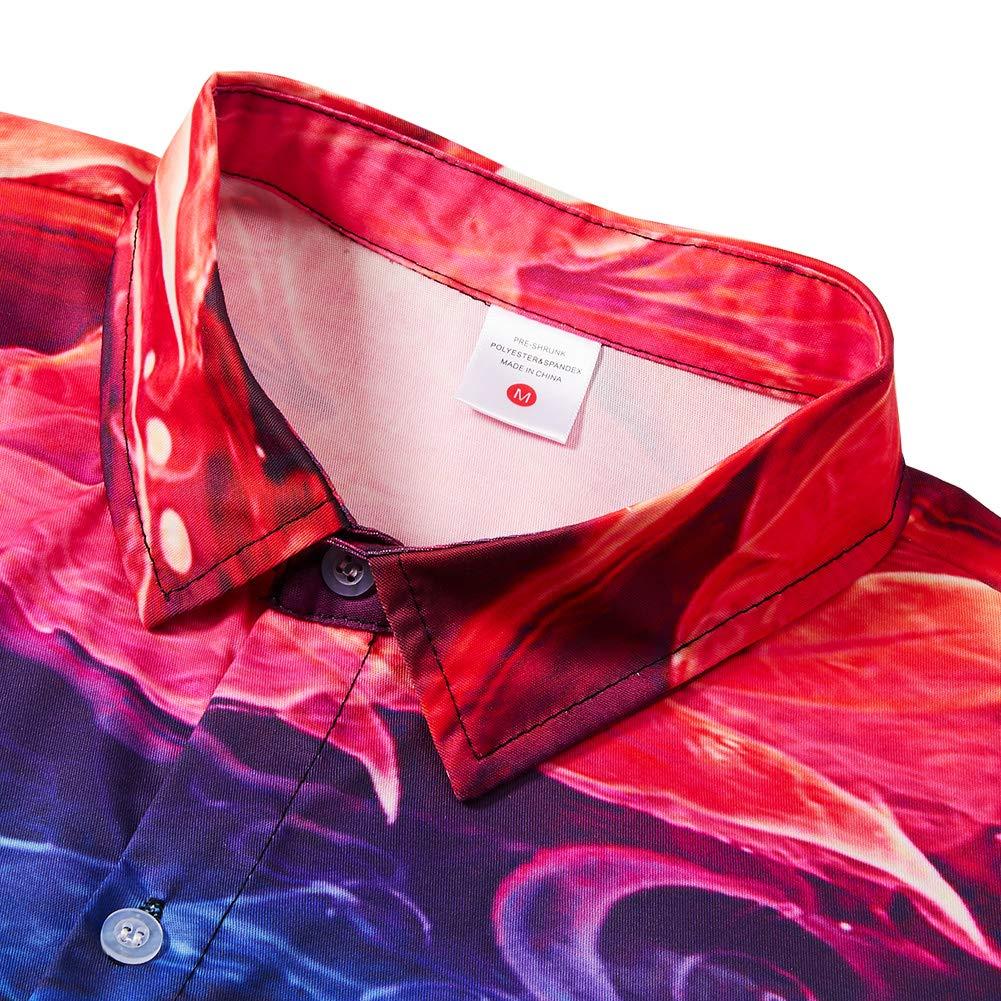 Uideazone Men Colorful Smoke Printed Shirt Premium Full Sleeve Button Down Shirts