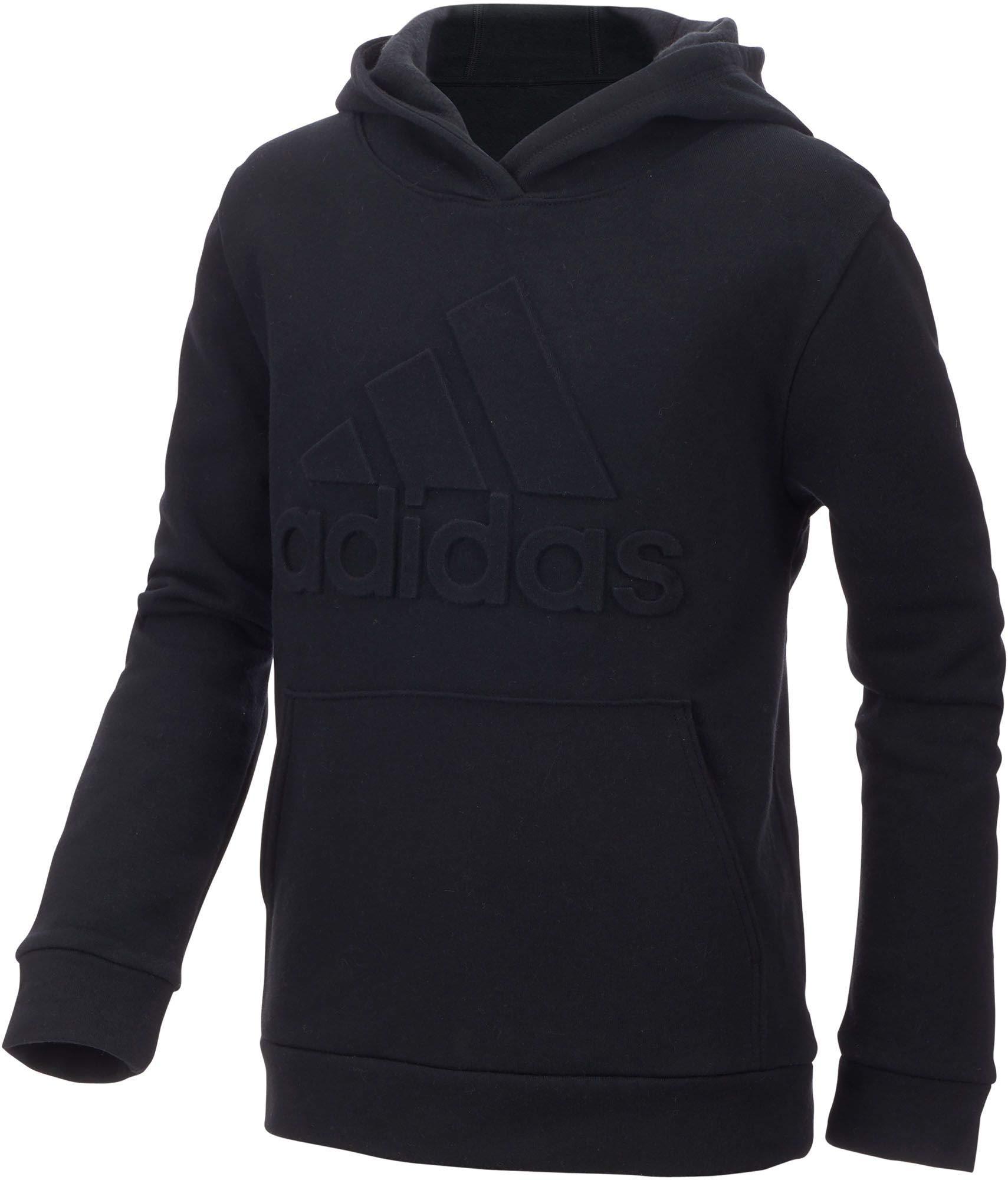 adidas Boy's Exclusive Embossed Logo Hoodie (Black, Large) by adidas (Image #1)