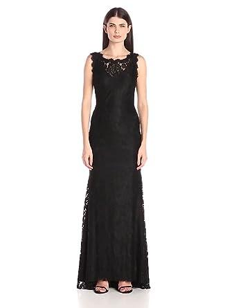 Betsy & Adam Women\'s Long Lace Gown Low Back Dress at Amazon Women\'s ...