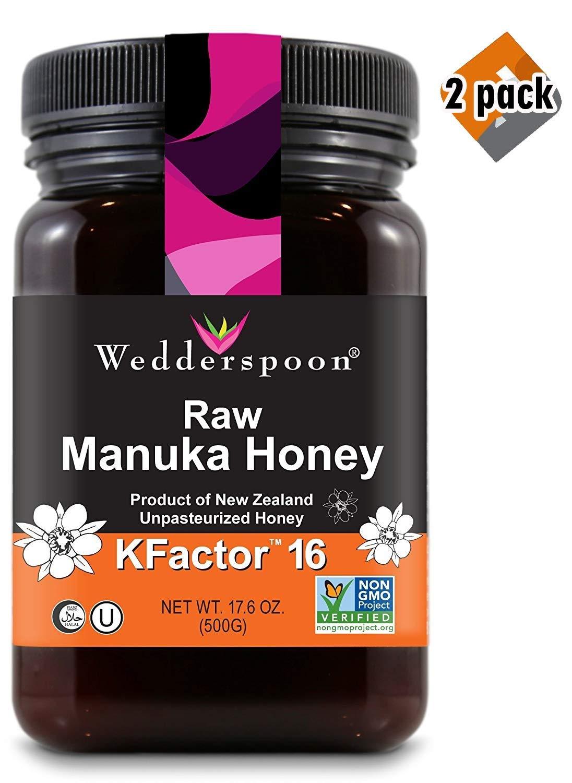 Wedderspoon Raw Premium Manuka Honey KFactor 16, 17.6 Oz, Unpasteurized, Genuine New Zealand Honey, Multi-Functional, Non-GMO Superfood, 2 Pack