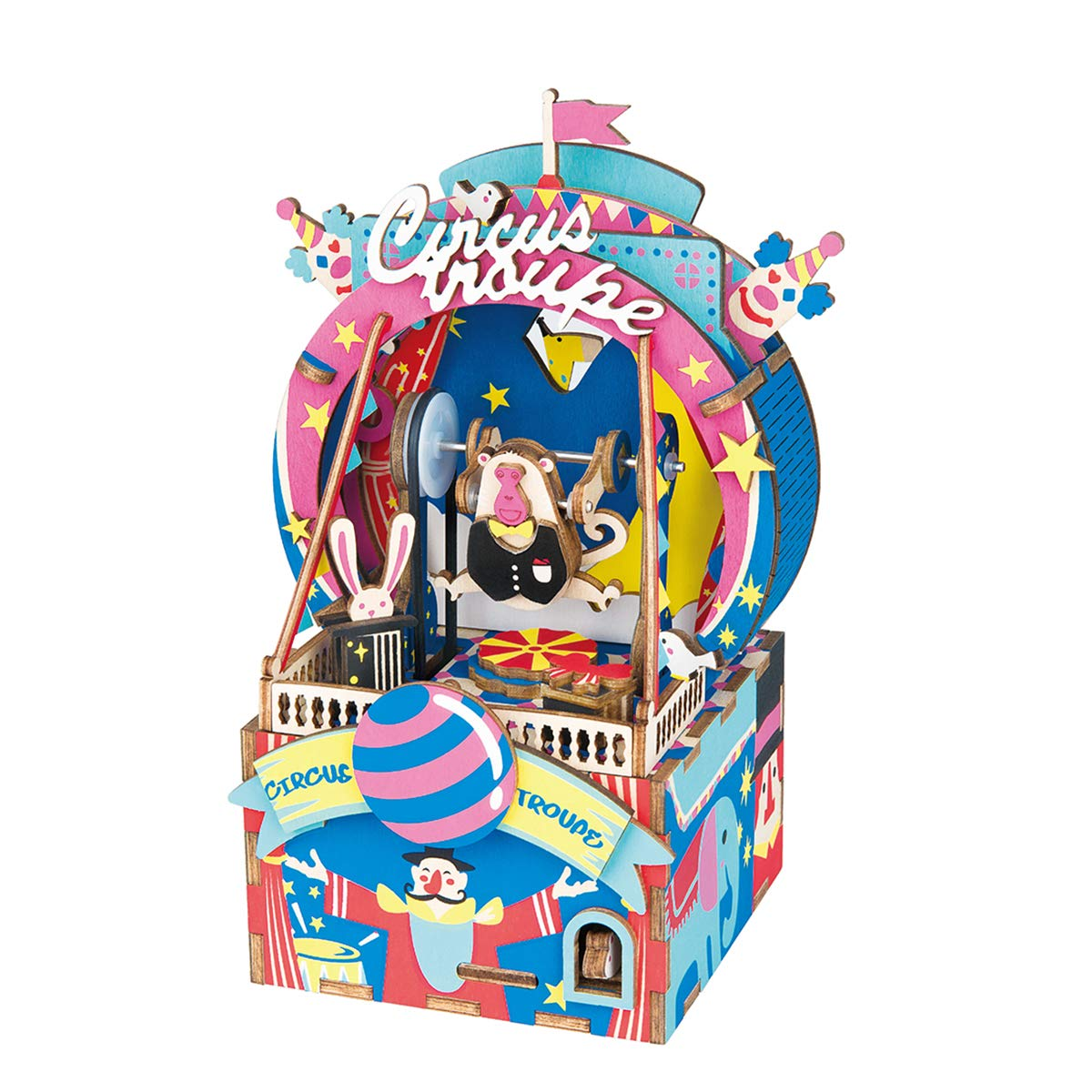 Rolife Dream Hand Crank Music Box with Inner Machine-3D Wooden Puzzle DIY Assemble Toys-Creative Gift for Christmas/Birthday/Valentine's Day for Kids Children Girl Friends (Circus Monkey) by Rolife
