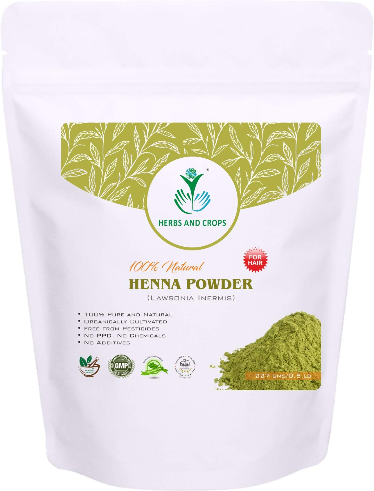 100% Natural Organically Grown Henna Powder Only for Hair (227g / (1/2 Lb) / 8 Ounces) by Herbs And Crops