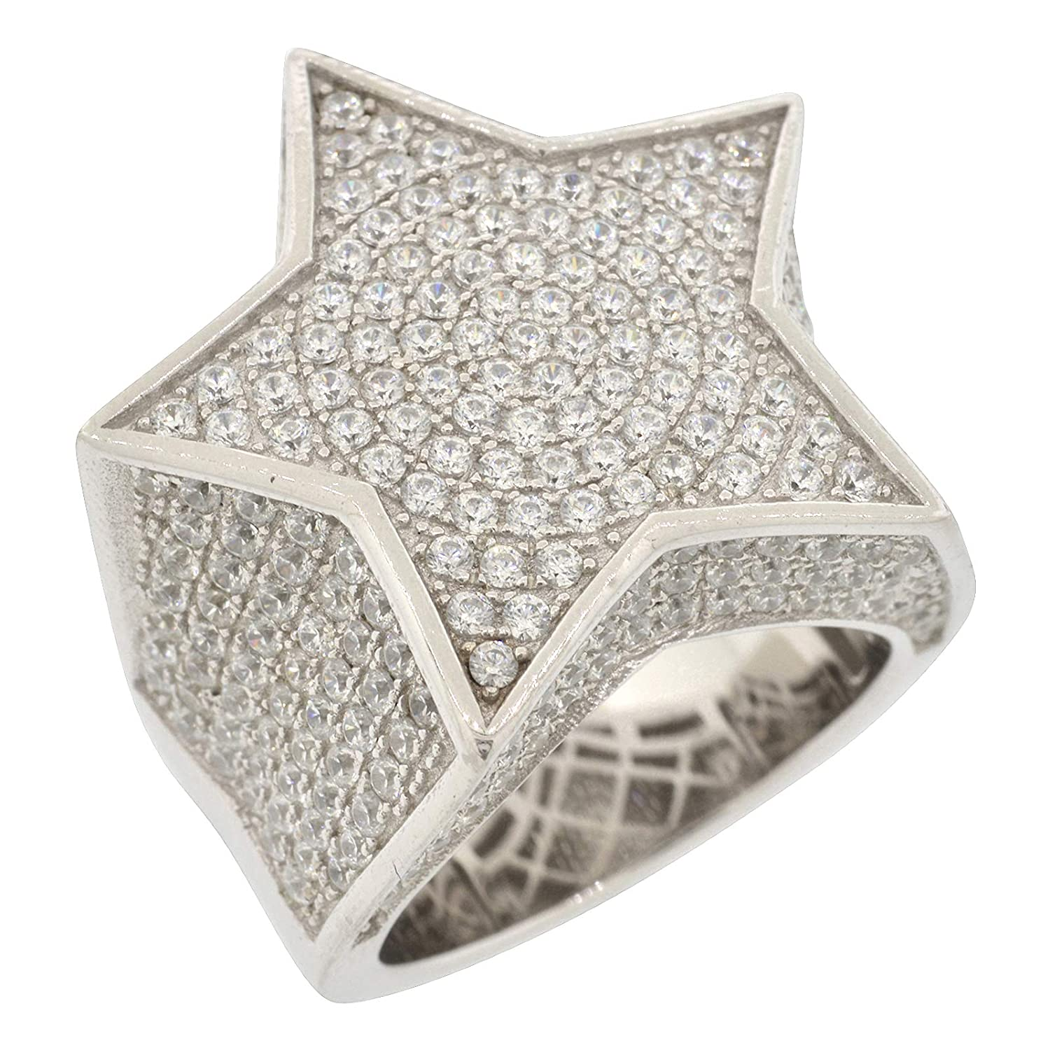 Size 10 Mens Rhodium-Plated Sterling Silver Round Cut Cubic Zirconia Iced Out Star Shaped Ring