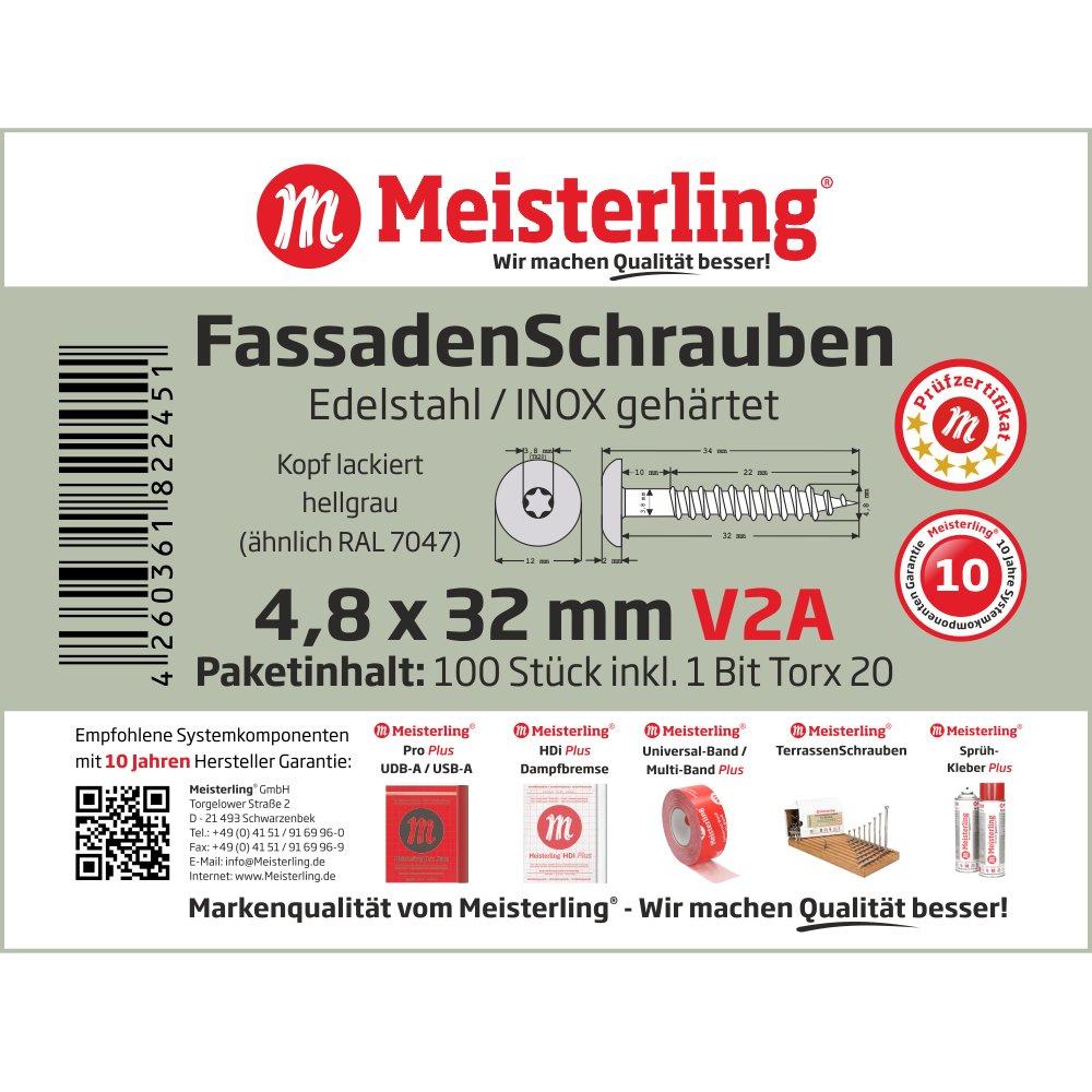 Meisterling V2a Vis pour fa/çade en acier inoxydable avec t/ête plate 4,8 x 32 mm gris
