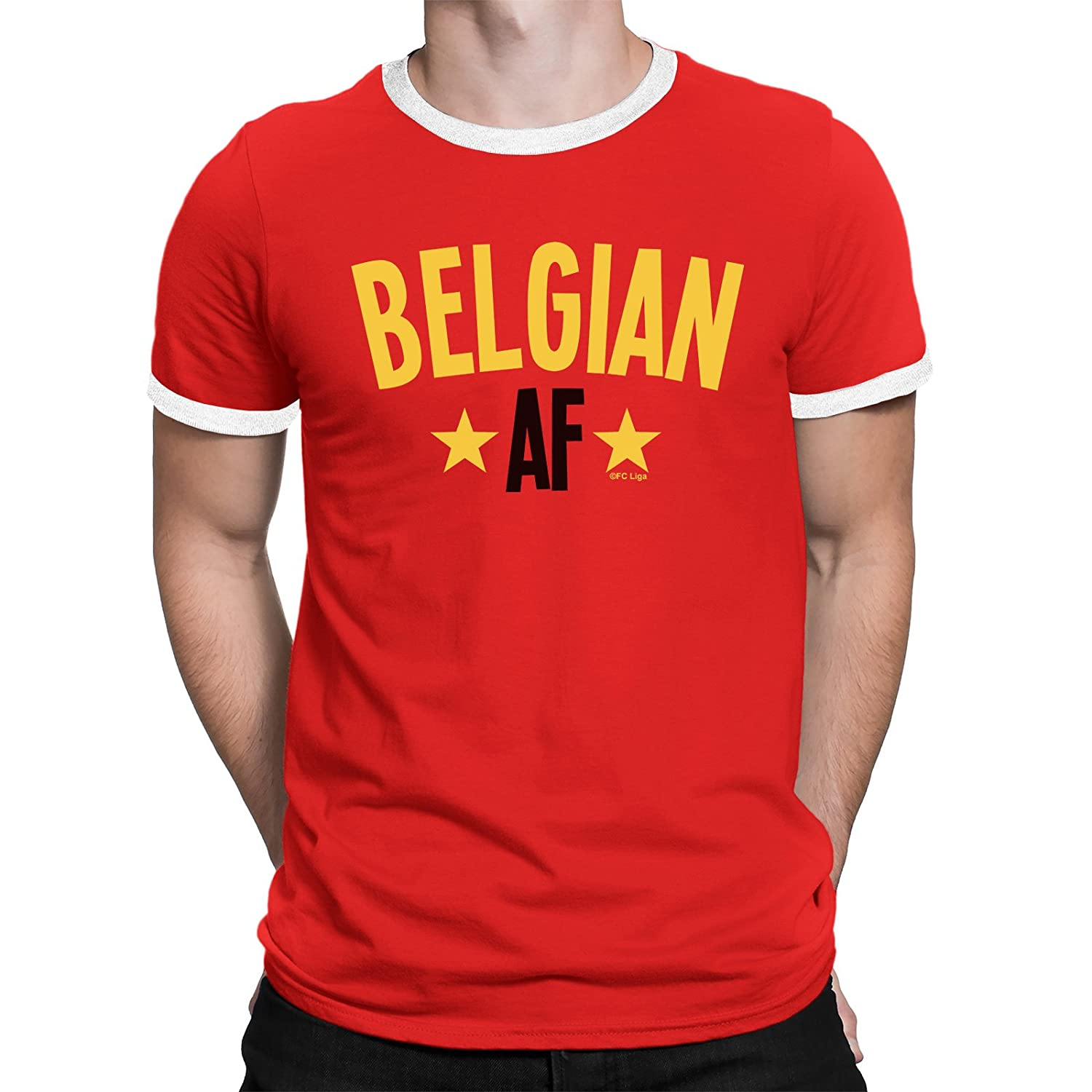 BELGIAN AF Mens Belgium T-Shirt FOOTBALL World Cup 2018 Sports Top