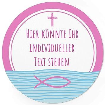24 Individuelle Runde Etiketten Selber Gestalten Rosa Fisch Kreuz Personalisierte Aufkleber Für Taufe Konfirmation Kommunion Ostern Weihnachten