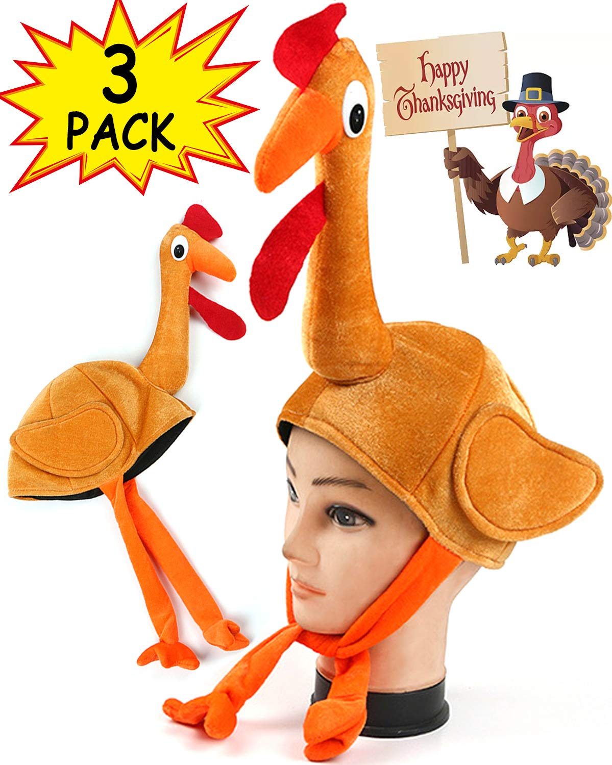3 Pack Thanksgiving Turkey Hats With Head Unisex Funny Novelty Plush for Festival Accessories Thanksgiving Party Favors Supplies Fun Plump Halloween Costume Accessory Holiday Gift by TURNMEON