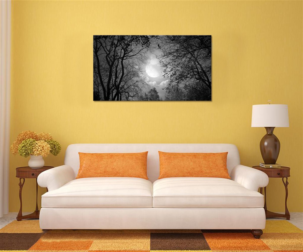 Peace Autumn Forest Night Scenery Wall Artwork Ready to Hang Visual Art Decor,Modern Wall Art,Full Moon Forest Giclee Canvas Prints,Landscape Painting Prints Framed, Black and White