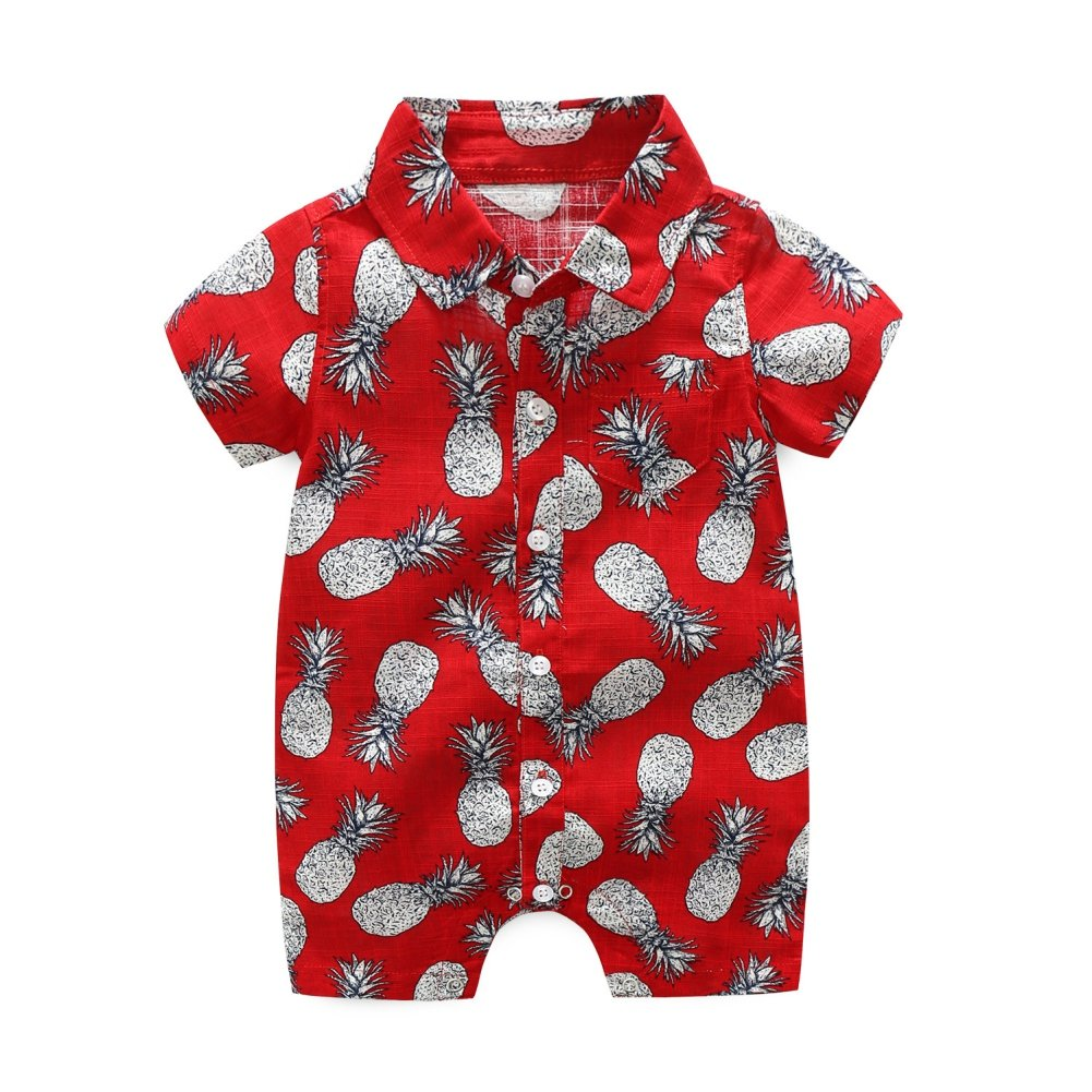 Shiningup Baby Boy Summer Romper One Piece Bodysuit Short Sleeve Floral Printed Holidy Beach Clothes Newborn for 0-24 Months Newborn Infant Toddler