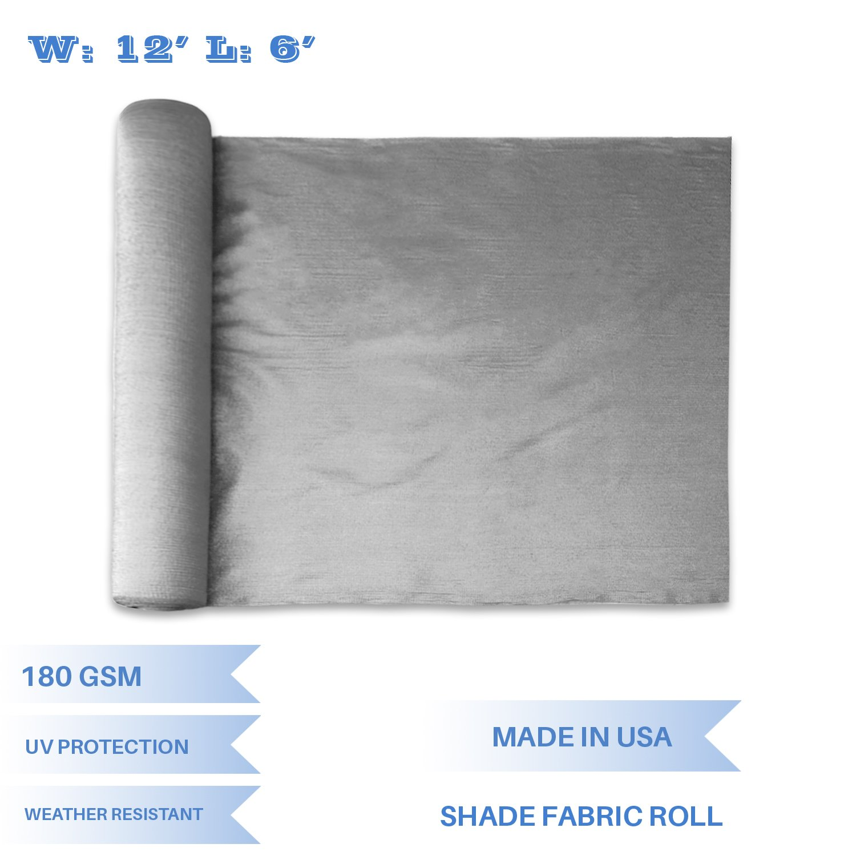 E&K Sunrise 12' x 6' Light Grey Sun Shade Fabric Sunblock Shade Cloth Roll, 95% UV Resistant Mesh Netting Cover Outdoor,Backyard,Garden,Greenhouse,Barn,Plant (Customized