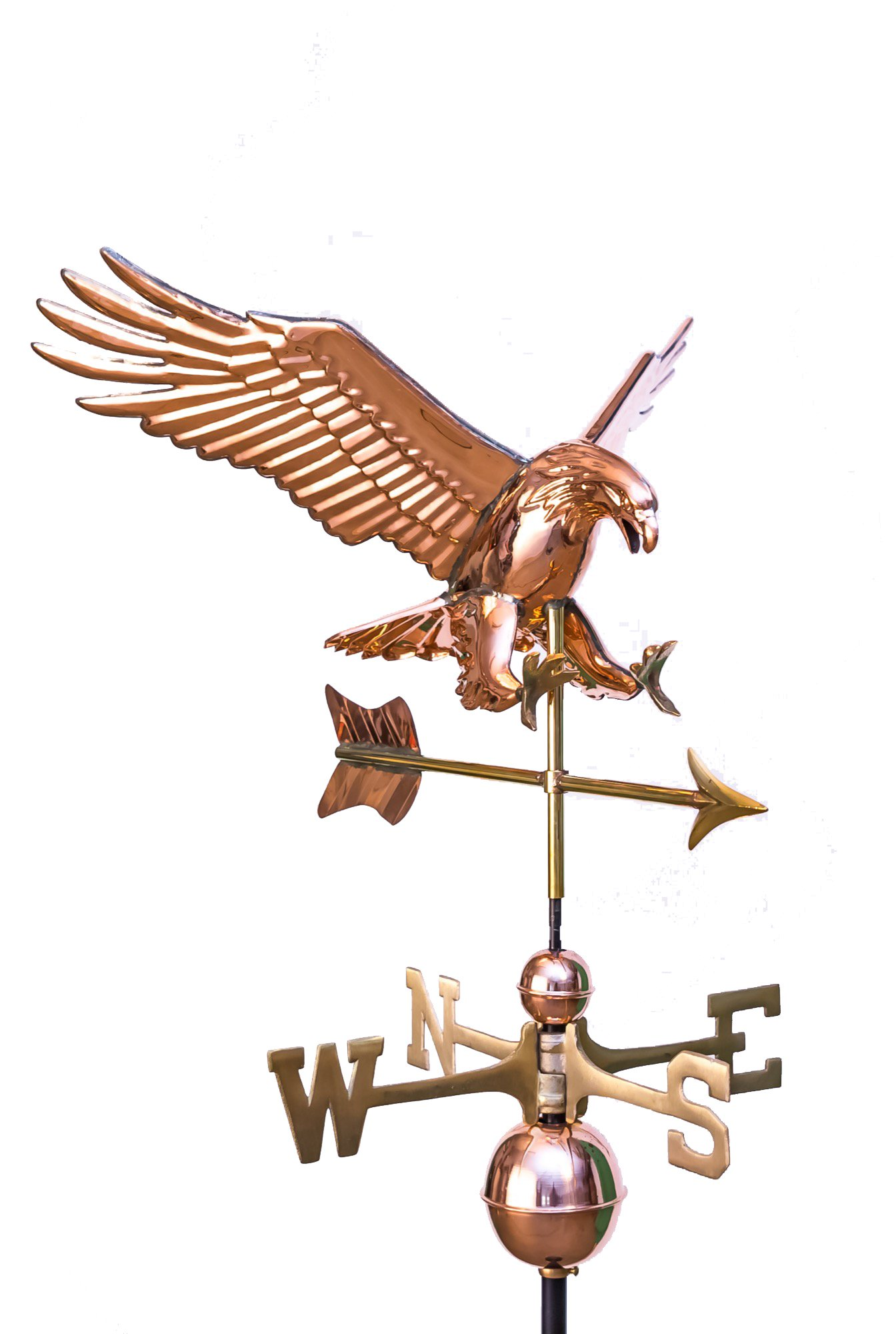 East Coast Weathervanes and Cupolas Copper Diving Eagle Weathervane - Polished Copper