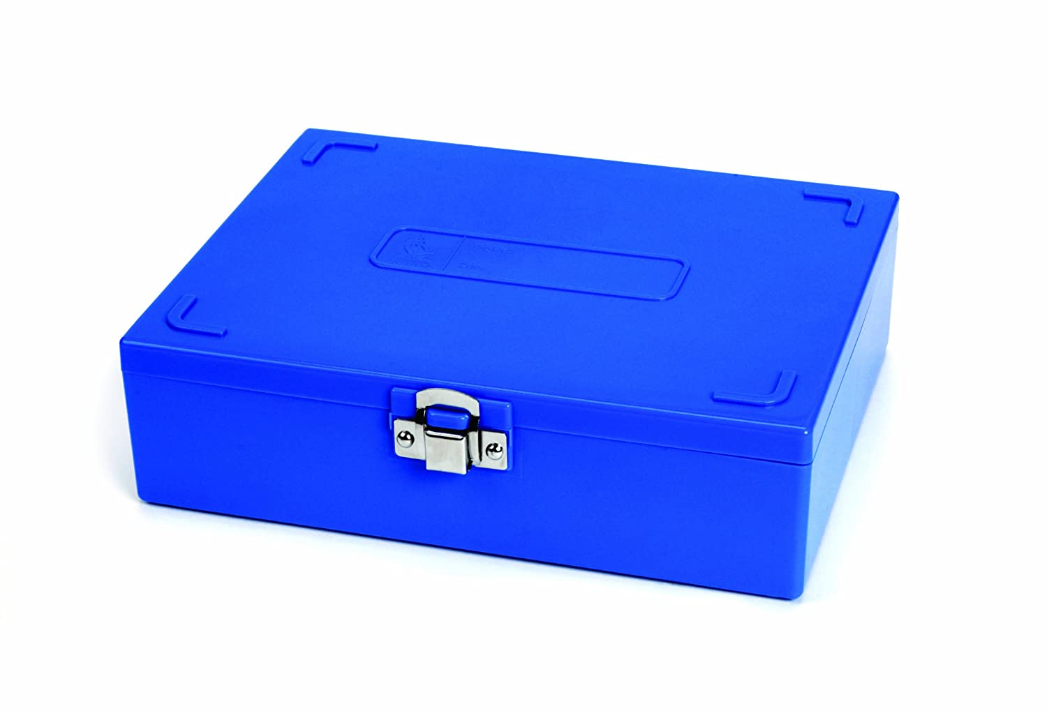 Heathrow Scientific HD15979A Sturdy ABS 100-Place Tall Slide Box, 208 mm Width x 175 mm Height x 60 mm Depth, Blue