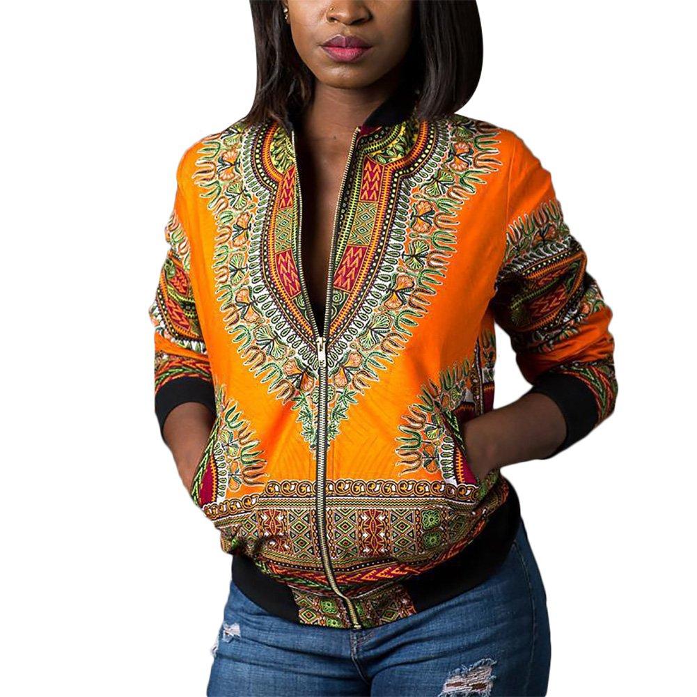 Luluka Women's Long Sleeve Print Dashiki Ethnic Style Africa Baseball Jacket US X-Large Yellow