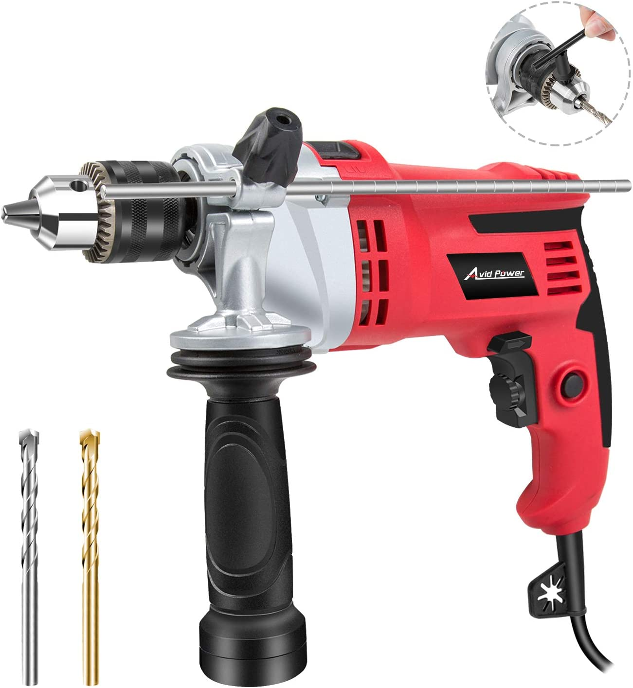 Hammer Drill, 7.0Amp 3000Rpm 1 2-Inch Corded Drill Hammer with Dual Drill Modes, Variable Speed, 360 Rotating Handle for Brick, Wood, Steel, Masonry, 2 Drill Bits Included, Avid Power MEID377