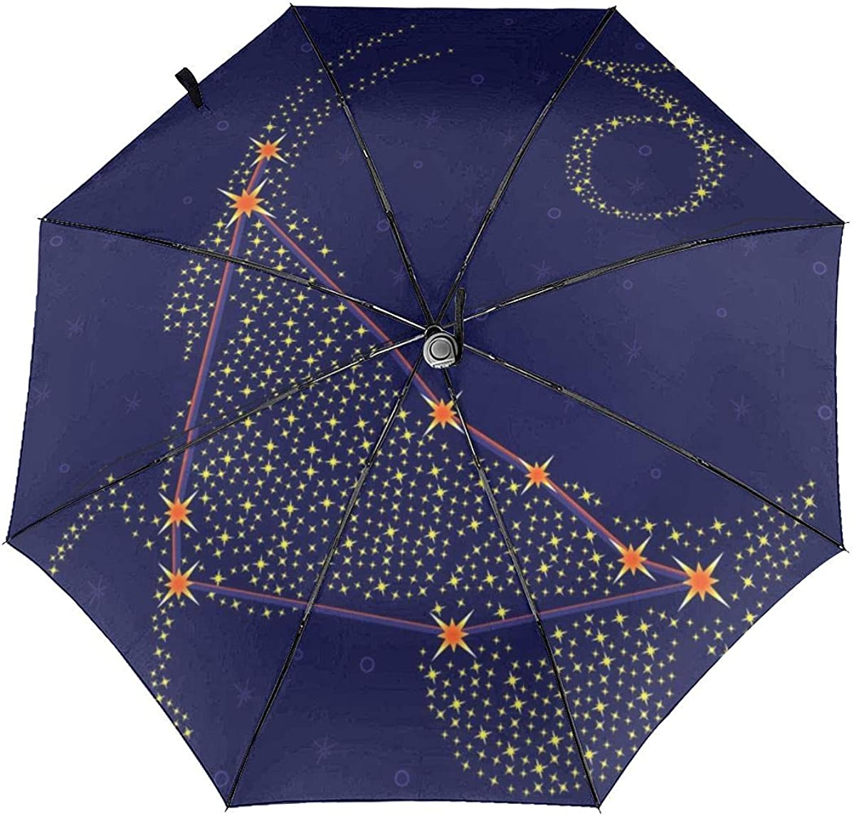 Zodiac Sign Capricorn Over Starry Sky Compact Travel Umbrella Windproof Reinforced Canopy 8 Ribs Umbrella Auto Open And Close Button Customized