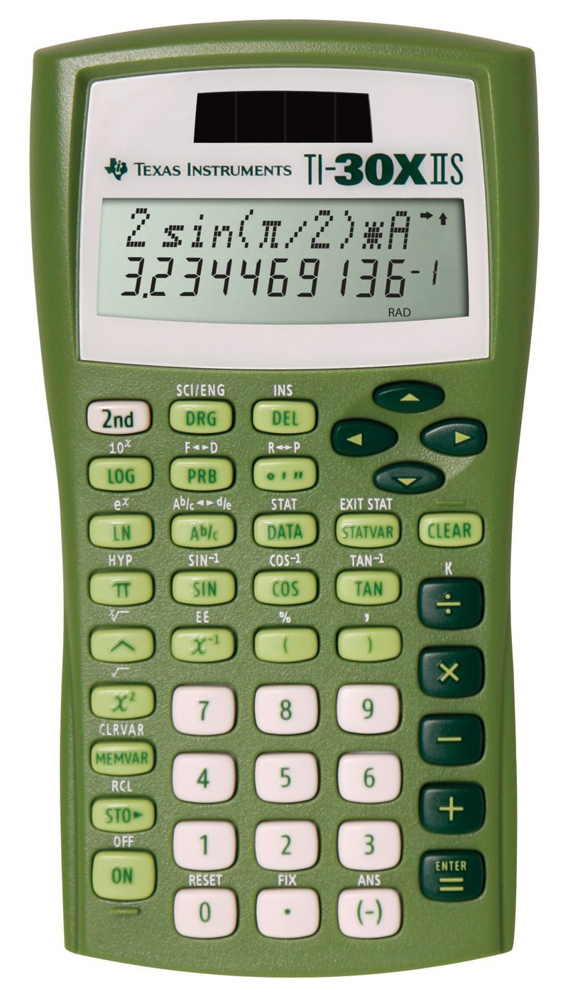 Texas Instruments TI-30X IIS 2-Line Solar/Battery-Powered Scientific Calculator, Lime Green by Texas Instruments