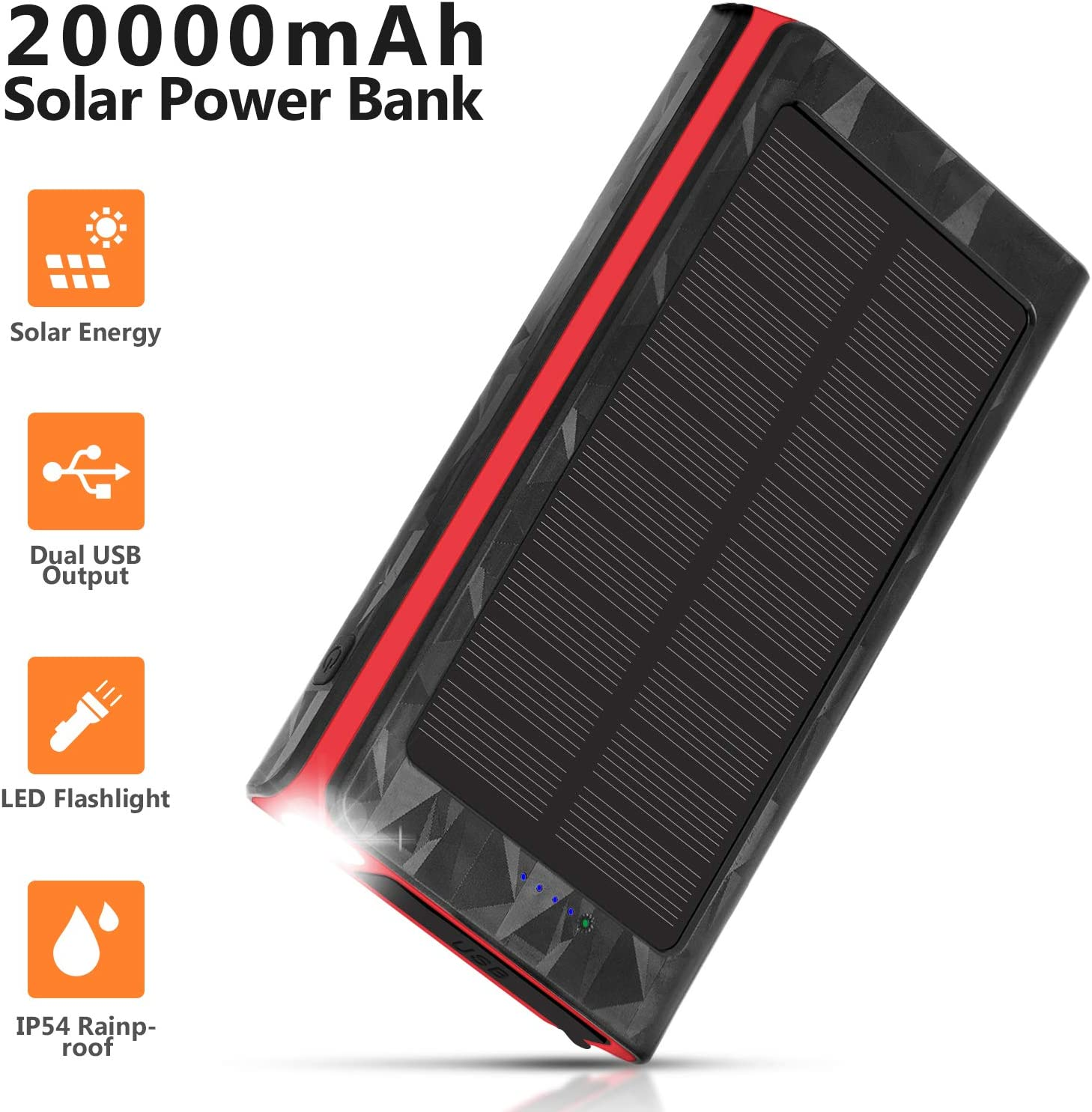 Solar Charger 20000mAh, Portable Phone Charger External Battery Pack, Compatible with iPhone Samsung Tablets & More, Type-C and Micro USB Inputs, 3 Outputs, Flashlight, Lanyard, IP54 Rainproof: Electronics