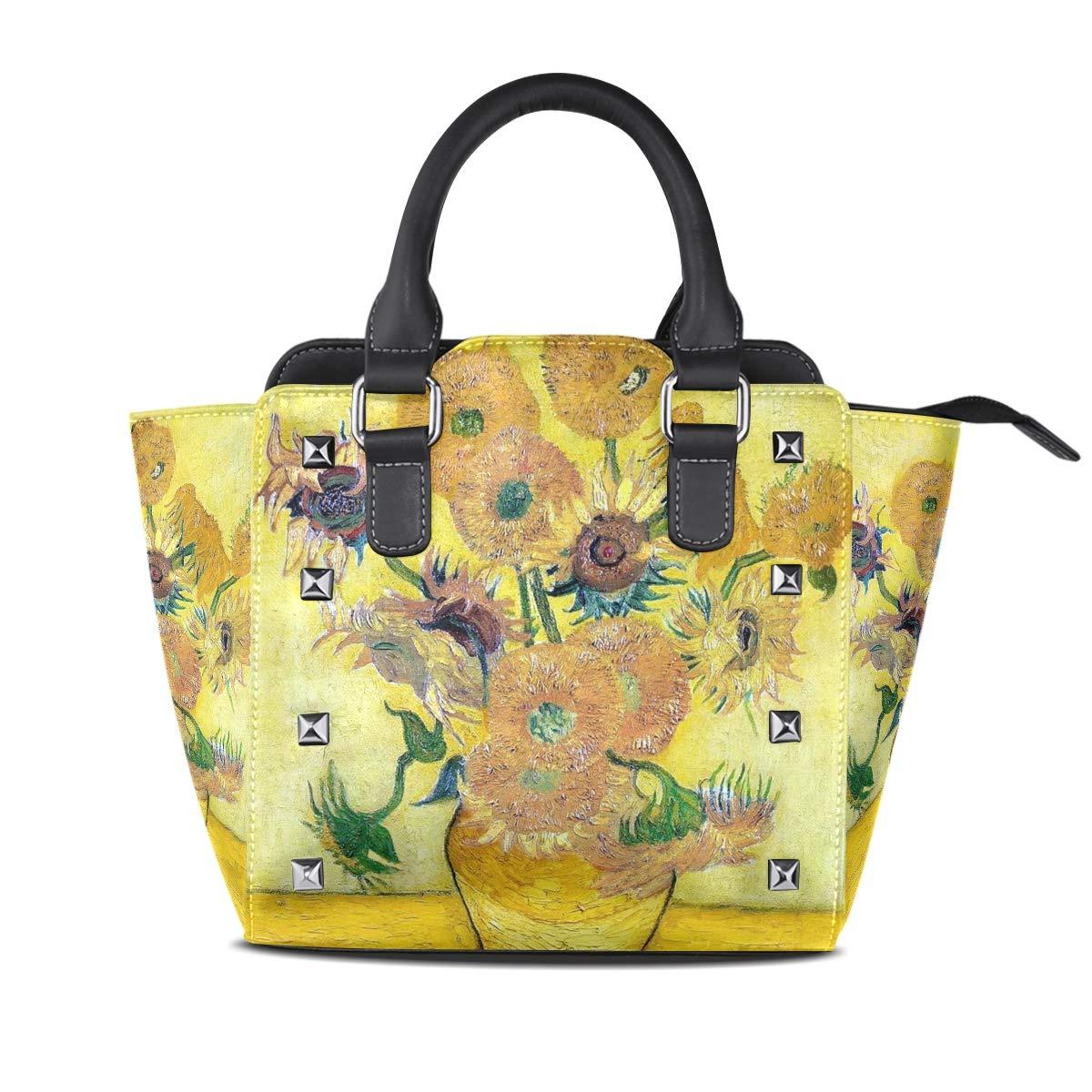 Design4 Handbag Pink Beautiful Flowers Genuine Leather Tote Rivet Bag Shoulder Strap Top Handle Women