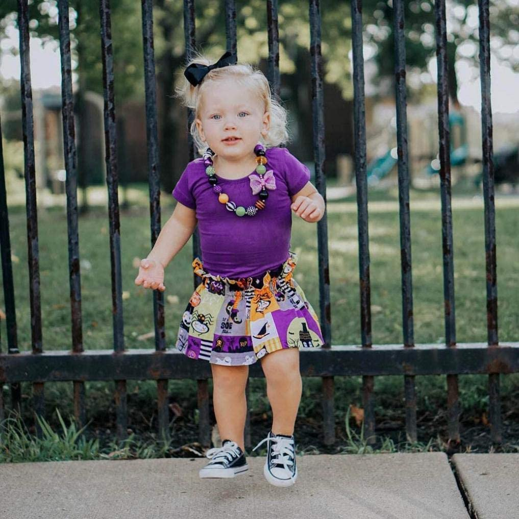 Memela Baby Clothes,Baby Halloween Clothes Outfit Floral Skirt Cartoon Print Halloween Tops Cotton Clothes