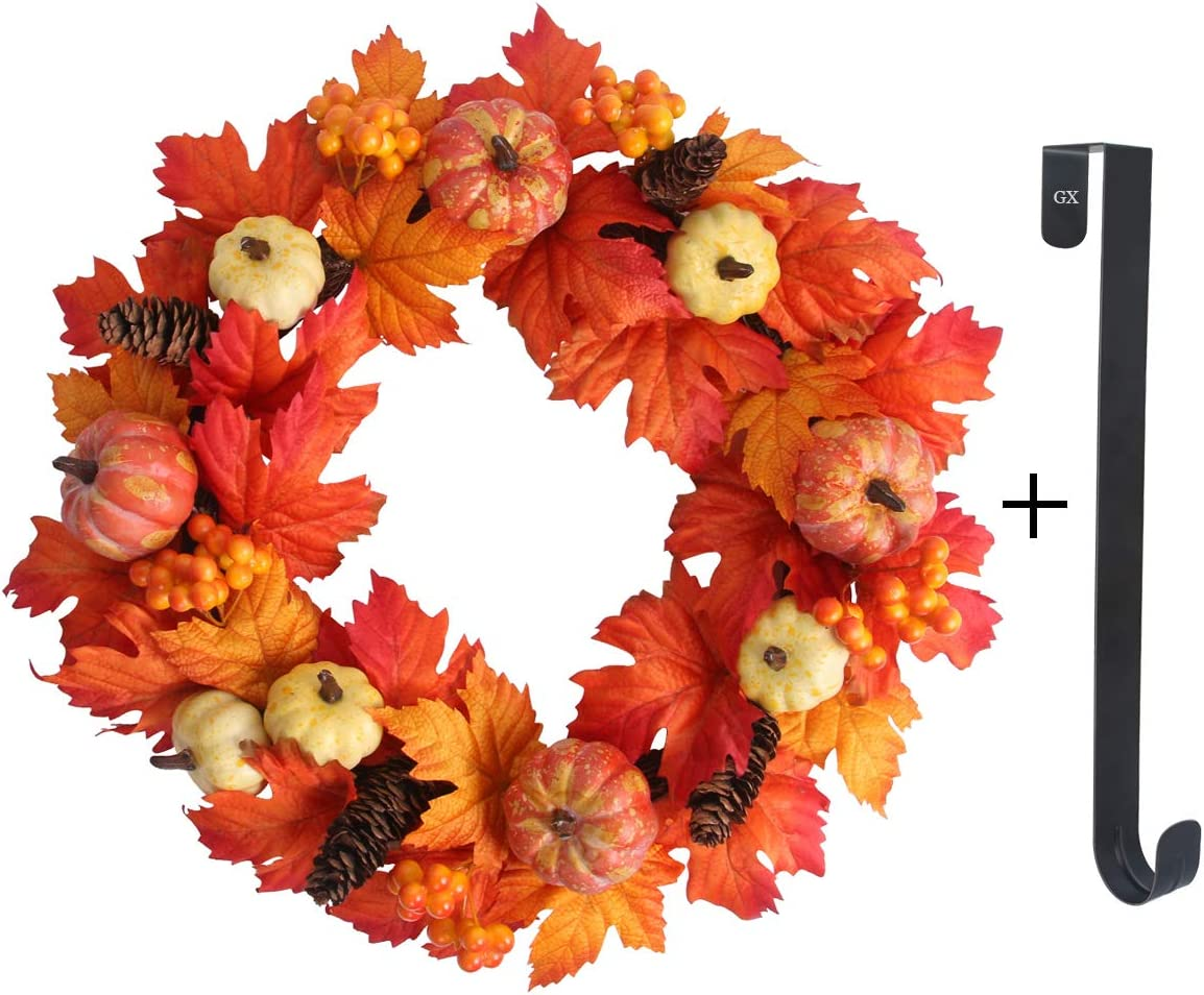 Molliy Fall Wreath 20 inch Autumn Maple Leaf Wreath for Front Door Wreath Decoration for Indoor Outdoor Halloween Thanksgiving Home Decor