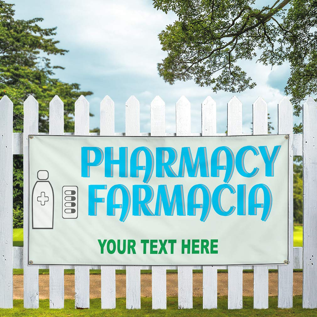 Custom Industrial Vinyl Banner Multiple Sizes Pharmacy Farmacia Personalized Text Business Outdoor Weatherproof Yard Signs Sky Blue 10 Grommets 60x120Inches