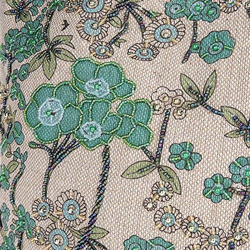 Bag Beads for Linen Green Hobo Handwork Shoulder Handbags Embroidery Women q5xw6Oxf