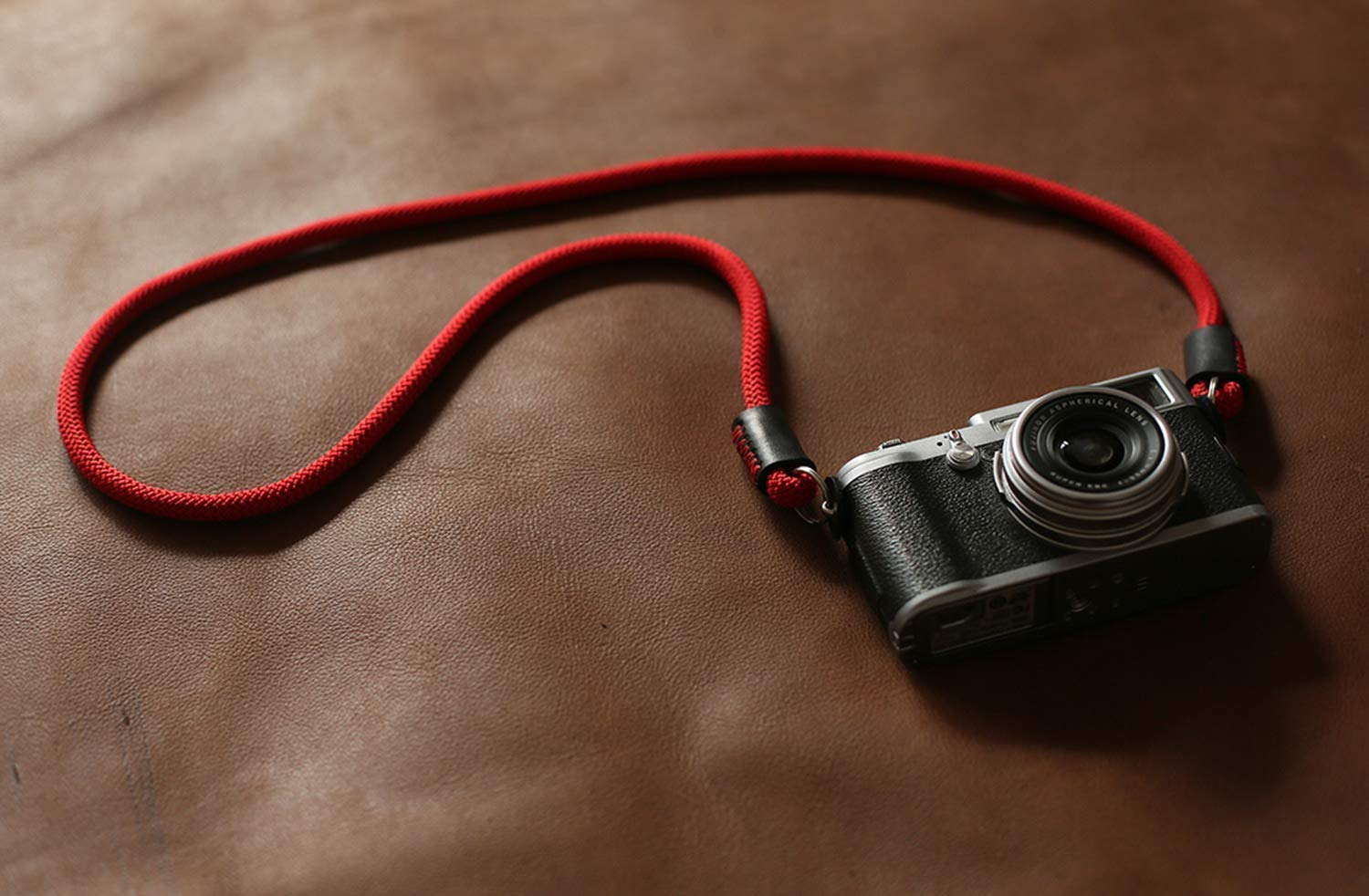 Red Camera Strap with Rubber Shoulder Thingy