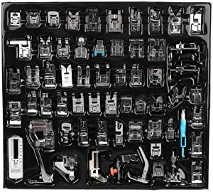 YWNYT Sewing Machine Presser Foot Feet Kit Set,Fits for Brother, Baby Lock, Singer, Elna, New Home, Simplicity, Janome, Kenmore, and White Low Shank Sewing Machine (62PCS)